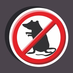 Vector illustration of a stickers set of isolated  no sign - No rat sign
