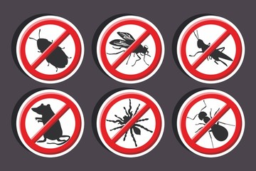 Vector illustration of a stickers set of isolated -  No vermin Sign