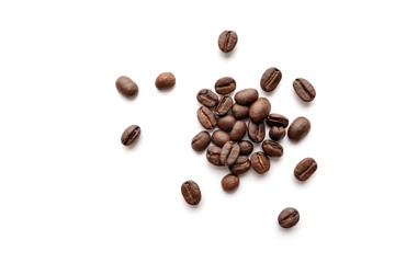 Coffee beans isolated on white background. Close-up.
