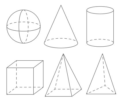 Volume geometric shapes: sphere, cone, cylinder, cube, pyramid.  Set of vector illustrations.