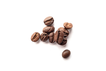 Foto op Aluminium koffiebar Coffee beans isolated on white background. Close-up.