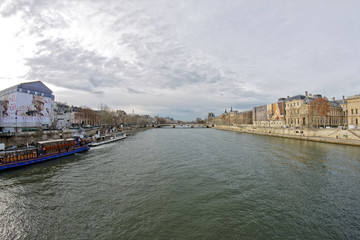 18 DEC 2018 - Paris, France - View of river Seine and the Louvre Palace