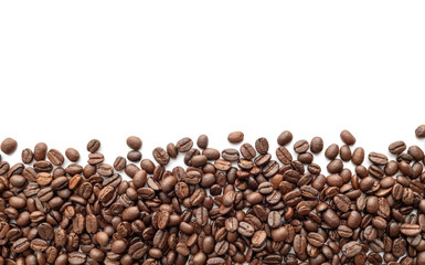 Roasted coffee beans on white background. Close-up.