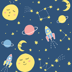 Cute vector seamless pattern with cosmic elements. Sleepy moon, planet, rocket and stars upon blue background