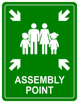 Assembly point sign. Meeting place for lost people or a safe point in an emergency.