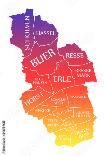 Gelsenkirchen Germany Map.Gelsenkirchen City Map Germany De Labelled Rainbow Colored