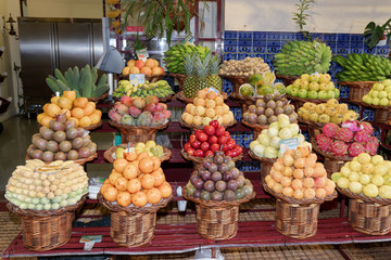 Exotic tropical fruits for sale in a market