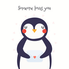 Hand drawn Valentines day card with cute penguin with a letter, hearts, text Someone loves you. Isolated objects on white. Vector illustration. Scandinavian style flat design. Concept for kids print.