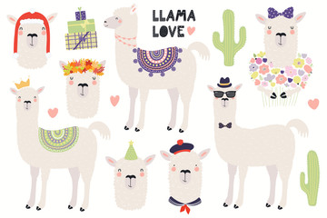 Printed kitchen splashbacks Illustrations Set of cute llamas, in a crown, autumn leaves wreath, party hat, sailor cap, with flowers. Isolated objects on white. Hand drawn vector illustration. Scandinavian style flat design. Concept kids print