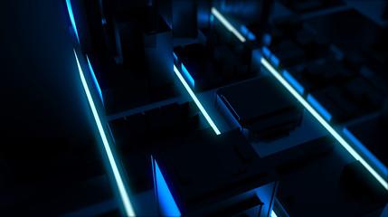 Neon glowing city rendering. 3D Rendering.