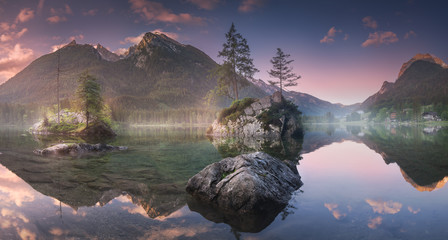 View of Hintersee lake in Bavarian Alps, Germany