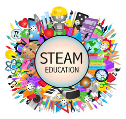 Steam Education banner icon - Science, Technology, Engineering, Arts and Mathematics