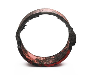 Cut metal ring piece isolated on white background, texture
