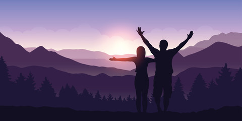 happy couple with arms raised enjoy the mountain landscape view at sunrise vector illustration EPS10