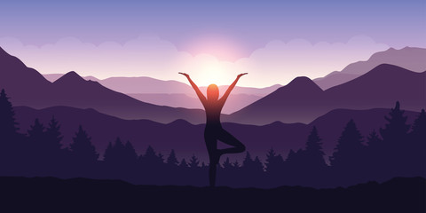 girl makes yoga tree figure in the mountain landscape view at sunrise vector illustration EPS10