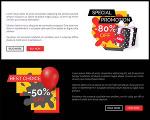 Half price 50 and 80 percent sale on products vector web site templates. Blot and ribbons, inflatable balloon, clearance and promotion, super offer
