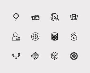 Gambling icons set. Money abundance and gambling icons with gamble play, jackpot and fortune wheel. Set of addiction for web app logo UI design.