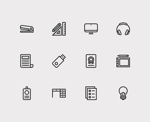 Workspace icons set. Headphone and workspace icons with stationery, lightbulb and news. Set of drawing for web app logo UI design.