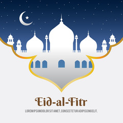 Ramadan Kareem greeting with mosque, crescent moon and shining star in night sky. Vector lanterns in minarets and Ramazan Mubarak text for Islamic or Muslim traditional religious holiday celebration