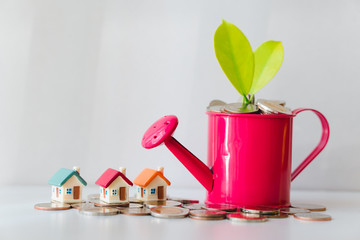 Plant on pile coins in watering can with mini house using as financial growth and business investment concept