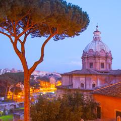 Wall Mural - Roman cityscape st twilight