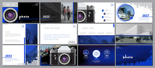 Template for photo presentation from the camera. Blue, black. White background. Multipurpose template for slides, business. Brochure Postcard, cover, marketing, social advertisement, report, digital