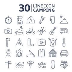 Lline icon set Camping.Vector illustration.