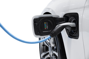 Electric vehicle charging isolated on white background