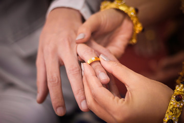 Young man giving an engagement ring to his girlfriend on Valentine's day,Wedding couple
