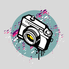 Camera in Graffiti style, vector illustration.