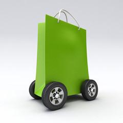 Green shopping bag on wheels