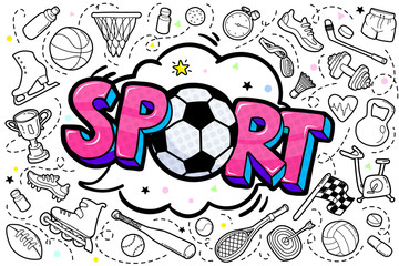 Message Sport with soccer ball in pop art style