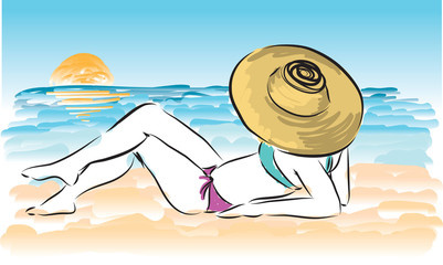 lady at the beach illustration