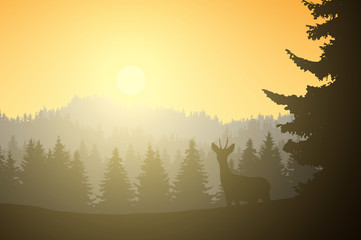 Realistic illustration of mountain landscape with coniferous forest and deer, under a morning yellow sky with sunshine, vector