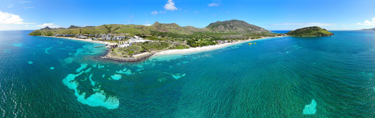 Aerial panoramic view of Christopher Harbor and the Caribbean Sea, Saint Kitts, near the Park Hyatt hotel and Reggae Beach