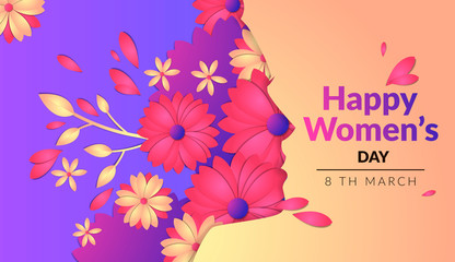 Vector image of a horizontal banner, flowers with cut out of paper effect, several layers of objects, the pattern for international women's day, the silhouette of the face of the girl on the side