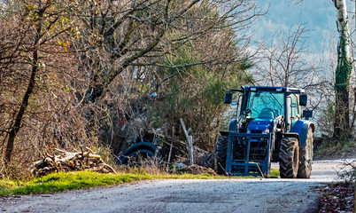 tractor machine on country road