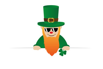 cool leprechaun character with sunglasses red beard and green hat vector illustration EPS10