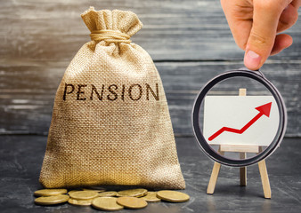 Bag with money and word Pension and up arrow with coins. Increase pension payments. Saving money, retirement. Future investment. Accumulation of pension contributions. Loan portfolio growth.