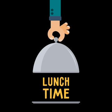 Restaurant cloche in hand lunch time. Empty blank food serving tray plate and elegant waiter hand. Flat vector illustration.