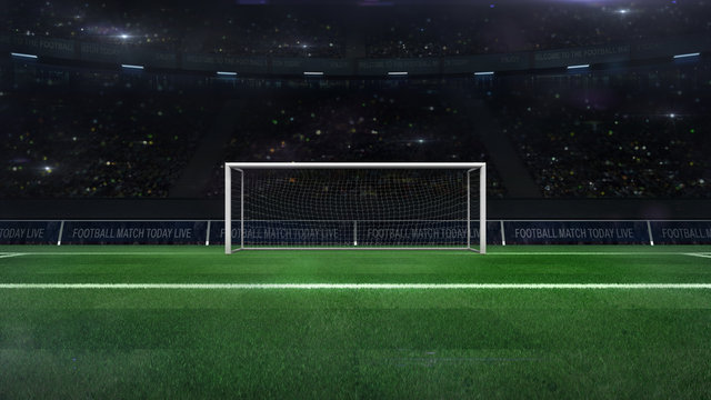 football or soccer goal gate closeup with green grass and fans behind, football stadium sport theme digital 3D illustration design my own