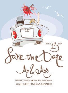 Wedding invitation. Vector illustration, postcard - bride and groom in car