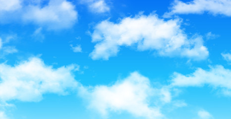 Nature background, blue sky with white clouds