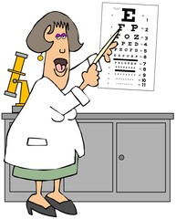 Female eye doctor pointing to an eye chart