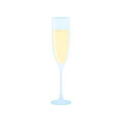 Flat icon glass of champagne isolated on white background. Vector illustration.
