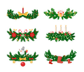 Pine branches with candle and socks, baubles toys vector. Bows and ribbons, snowman winter character with carrot nose, decorations of spruce tree