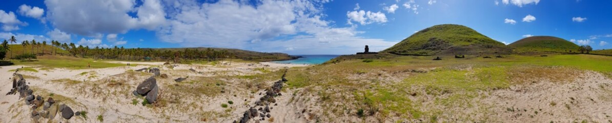 Enlarged view of Anakena Beach, the most beautiful beach on Easter Island, with palm grove on the left and volcanic hills on the right