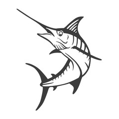 Hand Drawn Marlin fish jump. Design elements for logo, label, emblem, sign, brand mark. Vector illustration.