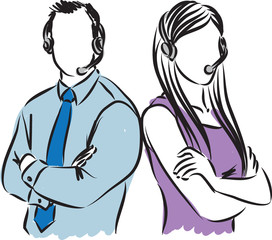 man and woman call center agents illustration
