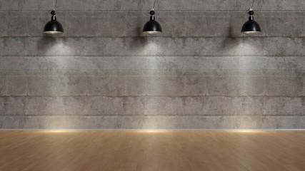 Drei Lampen leuchten vor Wand